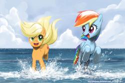 Size: 1800x1194 | Tagged: safe, artist:johnjoseco, applejack, rainbow dash, earth pony, pegasus, pony, female, happy, mare, ocean, photoshop, water