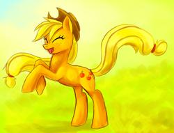 Size: 1582x1206 | Tagged: safe, artist:stalcry, applejack, earth pony, pony, eyes closed, female, happy, mare, photoshop, rearing, solo
