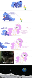 Size: 1419x3368 | Tagged: dead source, source needed, useless source url, safe, artist:flausch-katzerl, princess celestia, princess luna, alicorn, butterfly, pony, ..., cewestia, close-up, comic, cute, earth, face down ass up, female, filly, first spongebob squarepants picture on derpibooru, flower, glare, hiding, looking back, lunabetes, moon, nightmare fuel, open mouth, pink-mane celestia, planet, raised hoof, running, scared, simple background, smiling, smirk, space, spongebob squarepants, spread wings, to the moon, transparent background, wide eyes, woona, wormy, younger