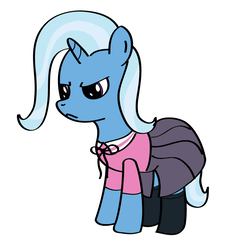 Size: 736x695 | Tagged: safe, artist:why485, trixie, pony, unicorn, angry, clothes, female, mare, photoshop, shirt, simple background, skirt, solo, white background