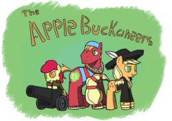 Size: 2568x1808 | Tagged: dead source, safe, artist:larrle, apple bloom, applejack, big macintosh, earth pony, pony, cannon, family, female, filly, male, mare, photoshop, pirate, stallion