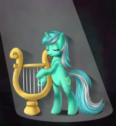 Size: 921x1000 | Tagged: safe, artist:mewball, lyra heartstrings, pony, unicorn, bipedal, eyes closed, female, lyre, mare, music, musical instrument, solo, underhoof