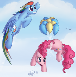 Size: 854x863 | Tagged: safe, artist:alipes, pinkie pie, rainbow dash, earth pony, pegasus, pony, balloon, female, flying, mare, then watch her balloons lift her up to the sky