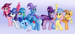 Size: 2313x1046 | Tagged: safe, artist:alipes, applejack, fluttershy, pinkie pie, rainbow dash, rarity, trixie, twilight sparkle, earth pony, pegasus, pony, unicorn, accessory swap, cape, clothes, female, gradient background, hat, mane six, mare, matching outfits, newbie artist training grounds, photoshop, the great and powerful, trixie's cape, trixie's hat, unicorn twilight