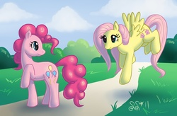 Size: 1362x893 | Tagged: safe, artist:alipes, fluttershy, pinkie pie, earth pony, pegasus, pony, female, flutterpie, lesbian, mare, photoshop, raised hoof, road, shipping