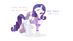 Size: 4859x2733 | Tagged: safe, artist:minimoose772, rarity, sweetie belle, pony, unicorn, belle sisters, can't breathe, clothes, dialogue, duo, duo female, female, filly, mare, photoshop, simple background, transparent background