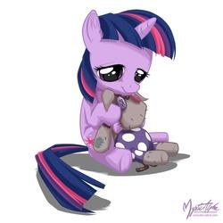 Size: 825x825   Tagged: safe, artist:mysticalpha, smarty pants, twilight sparkle, pony, unicorn, cute, doll, female, filly, filly twilight sparkle, foal, hug, lidded eyes, signature, simple background, sitting, solo, toy, twiabetes, underhoof, unicorn twilight, white background, younger