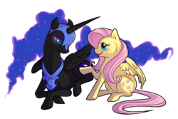 Size: 800x533 | Tagged: alicorn, artist:keshikins, eye contact, female, fluttermoon, fluttershy, looking at each other, mare, nightmare moon, pegasus, pony, prone, rarepair, safe, shipping, simple background, transparent background
