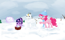 Size: 1280x800 | Tagged: safe, artist:greygnu, pinkie pie, twilight sparkle, earth pony, pony, unicorn, book, carrot, female, food, mare, mouth hold, photoshop, snow, snowmare, snowpony, unicorn twilight