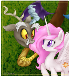 Size: 736x808 | Tagged: safe, artist:mn27, discord, princess celestia, alicorn, draconequus, pony, cute, cutelestia, discute, duo, female, filly, photoshop, pink-mane celestia, younger