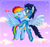 Size: 900x847 | Tagged: dead source, safe, artist:mn27, edit, rainbow dash, soarin', pegasus, pony, blushing, female, flying, goggles, heart, kissing, male, mare, shipping, sky, soarindash, stallion, straight, surprise kiss, surprised, wonderbolts