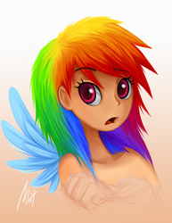 Size: 475x616 | Tagged: safe, artist:mn27, rainbow dash, human, female, gradient background, humanized, solo, winged humanization, wings