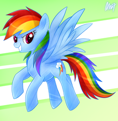 Size: 900x921 | Tagged: safe, artist:mn27, rainbow dash, pegasus, pony, abstract background, female, flying, mare, smiling, solo