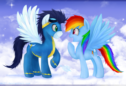 Size: 1723x1174 | Tagged: safe, artist:mn27, rainbow dash, soarin', pegasus, pony, eye contact, female, happy, looking at each other, male, mare, shipping, sky, soarindash, stallion, straight, wonderbolts