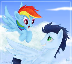 Size: 1416x1269 | Tagged: dead source, safe, artist:mn27, rainbow dash, soarin', pegasus, pony, cloud, cloudy, eye contact, female, flying, looking at each other, male, mare, shipping, sky, soarindash, stallion, straight