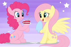 Size: 1024x687 | Tagged: safe, artist:mn27, fluttershy, pinkie pie, earth pony, pegasus, pony, abstract background, blushing, cake, eating, female, flutterpie, food, lesbian, mare, shipping, sitting
