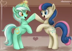 Size: 1024x727 | Tagged: safe, artist:mn27, bon bon, lyra heartstrings, sweetie drops, earth pony, pony, unicorn, abstract background, bipedal, eye contact, female, happy, heart, hoofbump, lesbian, looking at each other, lyrabon, magic, mare, rearing, shipping, smiling