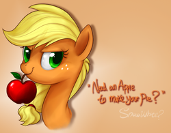 Size: 600x467 | Tagged: dead source, safe, artist:mn27, applejack, earth pony, pony, apple, bust, female, gradient background, hatless, mare, missing accessory, mouth hold, obligatory apple, portrait, solo