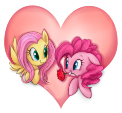 Size: 716x662 | Tagged: safe, artist:mn27, fluttershy, pinkie pie, earth pony, pegasus, pony, female, flower, flower in mouth, flutterpie, heart, lesbian, mare, mouth hold, rose, shipping, simple background, transparent background