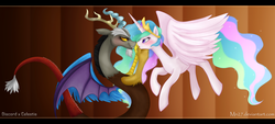 Size: 1600x723 | Tagged: safe, artist:mn27, discord, princess celestia, alicorn, pony, abstract background, blushing, dislestia, female, interspecies, male, mare, shipping, straight
