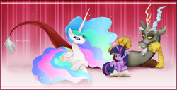 Size: 1907x972 | Tagged: safe, artist:mn27, discord, princess celestia, twilight sparkle, alicorn, pony, unicorn, abstract background, belittling, book, discord being discord, dislestia, female, glowing horn, male, mare, prone, shipping, straight, twilight is not amused, unicorn twilight