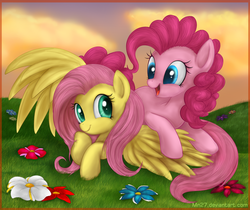 Size: 1428x1200 | Tagged: safe, artist:mn27, fluttershy, pinkie pie, earth pony, pegasus, pony, female, flower, flutterpie, grass, happy, lesbian, mare, shipping