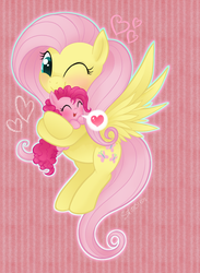 Size: 682x932 | Tagged: safe, artist:mn27, fluttershy, pinkie pie, earth pony, pegasus, pony, abstract background, blushing, carrying, cute, diapinkes, female, filly, flutterpie, foal, heart, holding a pony, lesbian, mare, one eye closed, shipping