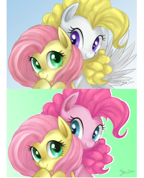 Size: 522x645 | Tagged: safe, artist:mn27, fluttershy, pinkie pie, posey, surprise, earth pony, pegasus, pony, female, flutterpie, g1, g1 to g4, generation leap, lesbian, mare, photoshop, poseyprise, shipping