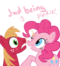 Size: 1324x1445 | Tagged: dead source, safe, artist:miketheuser, big macintosh, pinkie pie, earth pony, pony, blushing, dialogue, female, hay stalk, male, mare, photoshop, pinkie being pinkie, pinkiemac, shipping, simple background, stallion, straight, straw in mouth, surprised, transparent background
