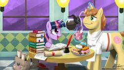 Size: 2400x1350 | Tagged: safe, artist:johnjoseco, derpy hooves, donut joe, princess celestia, twilight sparkle, pony, unicorn, bag, book, coffee, cupcake, donut, female, male, mare, peeking, photoshop, scroll, stallion, unicorn twilight, wallpaper