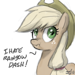 Size: 800x800 | Tagged: safe, artist:johnjoseco, applejack, rainbow dash, earth pony, pony, blatant lies, discorded, female, implied appledash, implied lesbian, implied shipping, liar face, liarjack, mare, scrunchy face, simple background, solo