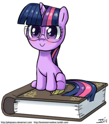 Size: 700x797   Tagged: safe, artist:johnjoseco, twilight sparkle, pony, unicorn, :>, blushing, book, colored pupils, cute, female, filly, foal, glasses, hnnng, looking at you, simple background, sitting, smiling, solo, twiabetes, unicorn twilight, white background, younger