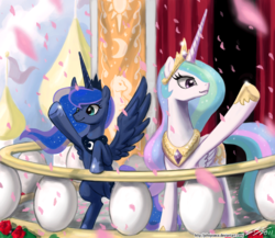 Size: 1200x1040 | Tagged: safe, artist:johnjoseco, princess celestia, princess luna, alicorn, pony, adobe imageready, balcony, duo, duo female, female, mare, royal sisters, royal wave, underhoof