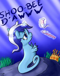 Size: 1500x1900 | Tagged: artist:osakaoji, brushie, female, frown, magic, minuette, nose wrinkle, sad, safe, sea pony, shoo be doo, solo, telekinesis, toothbrush, toothpaste