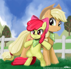 Size: 900x871 | Tagged: apple bloom, applejack, artist:johnjoseco, bandana, bipedal, clothes, earth pony, female, fence, filly, mare, pony, protecting, safe, scarf, sisterhooves social