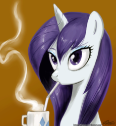 Size: 800x871 | Tagged: artist:johnjoseco, coffee, female, hot chocolate, loose hair, mare, pony, rarity, safe, solo, straw, unicorn, wet, wet mane, wet mane rarity, wrong eye color