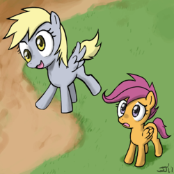 Size: 800x800 | Tagged: artist:johnjoseco, derpy hooves, filly, foal, pegasus, pony, safe, scootaloo, scootaloo can't fly