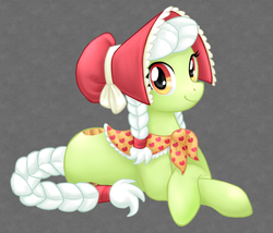 Size: 700x600 | Tagged: safe, artist:clemikou, granny smith, earth pony, pony, adobe imageready, adorasmith, bonnet, clothes, cute, female, mare, prone, solo, young granny smith