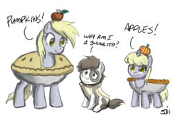 Size: 900x598 | Tagged: safe, artist:johnjoseco, derpy hooves, dinky hooves, pipsqueak, earth pony, pegasus, pony, unicorn, adobe imageready, apple, burrito, clothes, colt, costume, female, filly, male, mare, pie, pumpkin, simple background, trio, white background