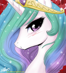 Size: 800x883 | Tagged: alicorn, artist:johnjoseco, bedroom eyes, blushing, bust, female, looking at you, manga style, mare, :o, photoshop, pony, portrait, pretty, princess celestia, profile, safe, solo, sparkles