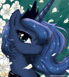 Size: 1000x1104 | Tagged: safe, artist:johnjoseco, princess luna, alicorn, pony, bust, female, flower, looking at you, manga style, mare, photoshop, portrait, pretty, profile, solo