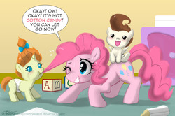 Size: 1100x729 | Tagged: safe, artist:johnjoseco, pinkie pie, pound cake, pumpkin cake, earth pony, pegasus, pony, unicorn, baby, baby pony, biting, cake twins, cotton candy, cube, diaper, female, foal, food, hair bite, mare, mouth hold, photoshop, ponies riding ponies, siblings, trio, twins