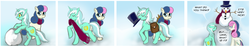 Size: 3200x600 | Tagged: safe, artist:gunslingerpen, bon bon, lyra heartstrings, sweetie drops, earth pony, pony, unicorn, clothes, comic, female, hat, mare, mouth hold, photoshop, scarf, snow, snowman, top hat, winter