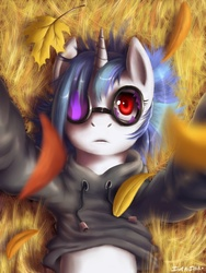 Size: 1200x1600 | Tagged: dead source, safe, artist:swaetshrit, dj pon-3, vinyl scratch, pony, unicorn, autumn, broken glasses, clothes, female, frown, glasses, grass, hoodie, leaves, looking at you, mare, on back, paint tool sai, selfie, solo, sunglasses