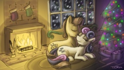 Size: 1920x1080 | Tagged: adorabon, artist:pluckyninja, bon bon, carabetes, carabon, caramel, christmas, cute, dead source, earth pony, eyes closed, female, fireplace, male, mare, photoshop, pony, prone, rarepair, safe, shipping, stallion, straight, sweetie drops, wallpaper