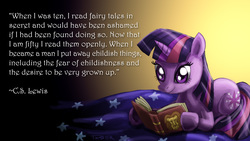 Size: 1920x1080   Tagged: dead source, safe, artist:pluckyninja, twilight sparkle, pony, unicorn, aslan, bed, book, c.s. lewis, chronicles of narnia, crossover, female, gradient background, mare, photoshop, prone, quote, reading, smiling, solo, text, unicorn twilight, wallpaper