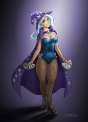 Size: 900x1253 | Tagged: dead source, safe, artist:pluckyninja, trixie, human, beautiful, breasts, busty trixie, cape, card, cleavage, clothes, cute, diatrixes, female, fishnets, gradient background, hat, high heels, humanized, leotard, magician outfit, solo, trixie's cape, trixie's hat, wide hips, woman