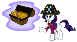 Size: 1631x902   Tagged: dead source, safe, artist:sir-dangereaux, rarity, pony, unicorn, bicorne, chest, clothes, costume, female, gem, hat, mare, newbie artist training grounds, photoshop, pirate, pirate rarity, simple background, solo, transparent background, treasure, treasure chest