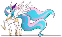 Size: 1588x957 | Tagged: dead source, safe, artist:sir-dangereaux, princess celestia, alicorn, pony, female, hat, looking at you, majestic, mare, party hat, photoshop, raised hoof, simple background, smiling, solo, spread wings, transparent background