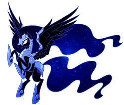 Size: 1127x949 | Tagged: dead source, safe, artist:sir-dangereaux, nightmare moon, alicorn, pony, action pose, armor, ethereal mane, female, glowing eyes, hoof shoes, mare, photoshop, rearing, simple background, solo, spread wings, starry mane, white background, white eyes, wings